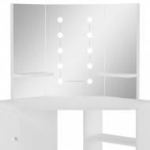 SEA701 - Set Masa alba toaleta cosmetica machiaj, la alegere cu oglinda cu LED, masuta vanity pe colt