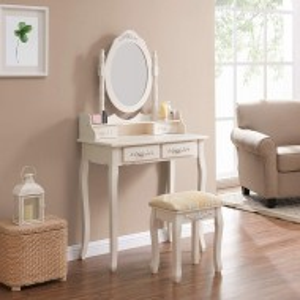 SEC104- Set Masa 75 cm toaleta cosmetica machiaj oglinda masuta - Ivory/Crem
