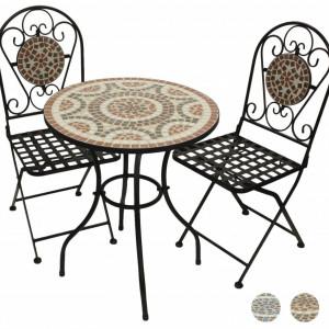SEGAL101 - Set Masa si scaune pliante Mozaic gradina, terasa, balcon - Maro