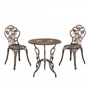SEGM2 - Set Masa si scaune gradina, terasa, balcon - Bronz/Maro