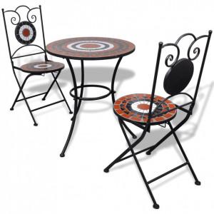 SEGM3 - Set Masa si scaune pliante Mozaic gradina, terasa, balcon - Maro