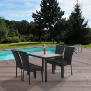 SEGM601 - Set Masa si 4 scaune gradina, terasa, balcon - Maro
