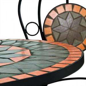 SEGP204 - Set Masa si scaune pliante Mozaic pentru gradina, terasa, balcon - Portocaliu si Verde