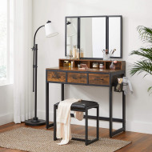 SEM222 - Set Masa toaleta, 90 cm, cosmetica machiaj cu oglinda tripla, masuta vanity - Maro stil industrial
