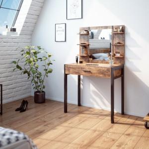 SEM226 - Set Masa toaleta, 80 cm, cosmetica machiaj oglinda cu sau fara LED, masuta vanity, cu sau fara bancuta - Maro stil industrial