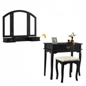 SEN119 - Set Masa neagra toaleta cosmetica machiaj oglinda masuta vanity, scaunel, taburet tapitat