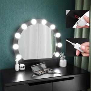 SEN122 - Set Masa neagra toaleta cosmetica machiaj oglinda masuta vanity, scaunel, taburet tapitat