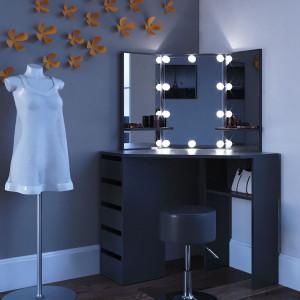 SEN223 - Set Masa neagra toaleta cosmetica machiaj oglinda masuta vanity pe colt