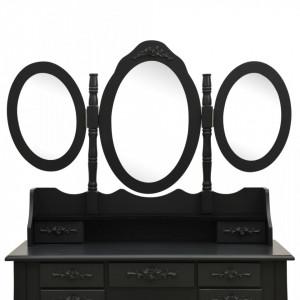 SEN701 - Set Masa toaleta, 90 cm, cosmetica machiaj cu oglinda, masuta vanity, scaun tapitat - Neagra