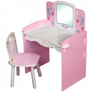 SERC103 - Set masuta, scaunel, oglinda - roz si alb , MDF masa, vanity