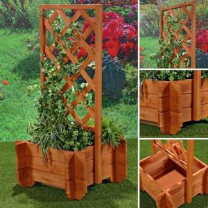 PEM1 - Jardiniera trandafiri cu gard lemn gradina, terasa, balcon - Maro