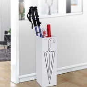 SUA203 - Suport depozitare umbrela patrat, baston pentru hol, metal - Alb