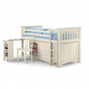 PAAC101 - Pat alb cu dulap si birou - patut copii