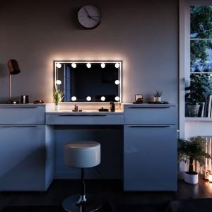 SEA254 - Set Masa alba toaleta moderna cosmetica machiaj oglinda cu LED, masuta vanity