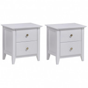 NOA603 - Set 2 Noptiere albe cu 2 sertare pentru dormitor