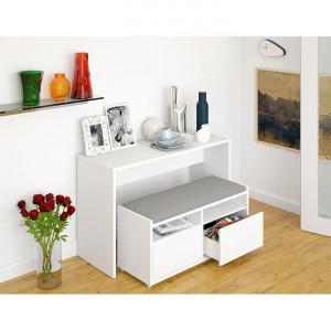 SEA603 - Set Masa toaleta, 120 cm, consola cosmetica machiaj masuta vanity make-up cu bancuta - Alb