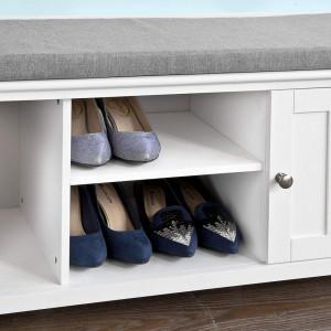 BAA11 - Banca, bancuta pentru Hol, depozitare pantofi cu dulapuri si raft - Alba