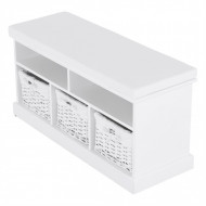 BAA601 - Banca 95 cm pentru baie, hol, depozitare - Alba