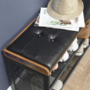 BAI201 - Banca industriala 80 cm, pentru Hol, pantofi, pantofar, bancuta depozitare - Maro