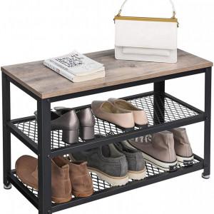 BAI204 - Banca industriala 73 cm, pentru Hol, pantofi, pantofar, bancuta depozitare - Maro