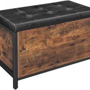 BAI205 - Bancuta tapitata 80 cm, pentru hol sau living, patofar, bancuta depozitare - Maro