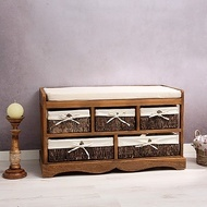 BAM4 - Bancheta, bancuta, hol, dormitor banca lemn vopsit 5 cosuri - Maro