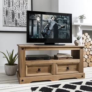 COM202 - Comoda TV, dulap cu 2 sertare si raft, dormitor, living - Maro