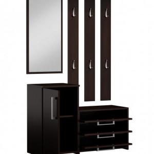 CUI503 - Cuier Alb/Maro/Crem, 6 agatatori haine, hol, pantofar cu oglinda