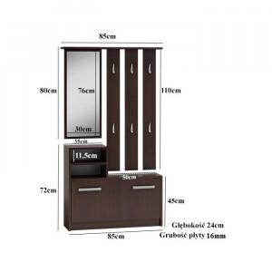 CUI504 - Cuier 85 cm - 6 agatatori haine, hol, pantofar cu oglinda, Alb/Negru/Maro/Crem