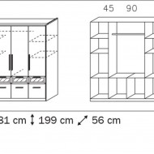 DUA113 - Dulap, sifonier cu 4 usi, bara umerase, rafturi si sertare, dormitor - Alb