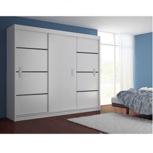 DUA2_2 - RESIGILAT - Dulap 250 cm, sifonier dormitor cu 3 usi - Alb-Negru