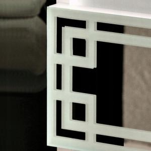 NOA506 - Noptiera alba oglinda 30 cm, cu 2 sertare, dormitor - Oglinda - Alb