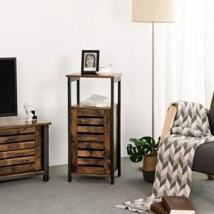 NOI203 - Noptiera inalta, comoda ingusta pentru dormitor sau living stil industrial - Maro