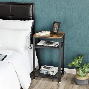 NOI204 - Noptiera inalta 45 cm, pentru dormitor sau living stil industrial - Maro