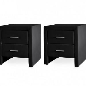NON211 - Set 2 Noptiere negre capitonate cu 2 sertare pentru dormitor - Piele ecologica