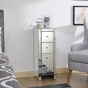 NOOG129 - Noptiera oglinda inalta pentru dormitor cu 4 sertare - Argintiu
