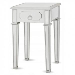 NOOG507 - Noptiera oglinda 45 cm, cu 1 sertar, dormitor - Oglinda - Argintiu