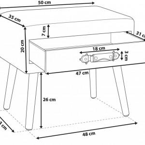 NOR501 - Set 2 Noptiere, 50 cm, cu 1 sertar pentru dormitor - Roz-Negru