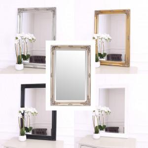 OGG108 - Oglinda 60x90 cm, dreptunghiulara perete dormitor/living/baie - Rama Argintie/Aurie/Crem/Alba/Neagra