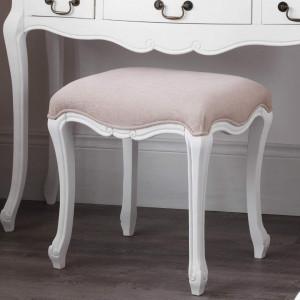 SCA105 - Scaun scaunel taburet tapitat pentru masuta de toaleta machiaj cosmetica - Alb