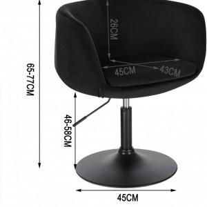 SCA225 - Scaun tapitat Negru catifelat pentru masa toaleta, birou, bar, lounge, inaltime reglabila