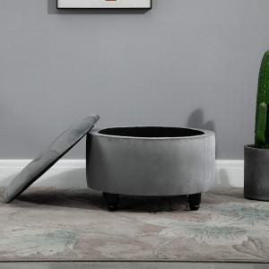 SCN203 - Scaun masuta toaleta machiaj cosmetica, fotoliu, scaunel, divan cu lada - tapiterie catifea - Gri inchis