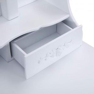 SEA128 - Set Masa toaleta 75 cm, cosmetica machiaj oglinda masuta - Alba