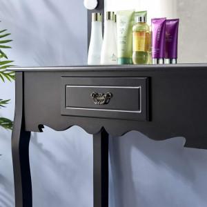 SEA157 - Set Masa toaleta cosmetica 80 cm machiaj masuta vanity, oglinda cu LED-uri - Negru