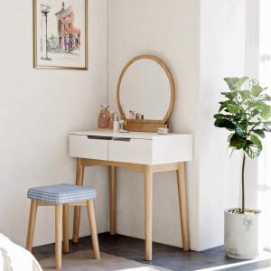 SEA221 - Set Masa toaleta, 80 cm, cosmetica machiaj oglinda masuta vanity, scaunel, taburet tapitat Alb-Maro