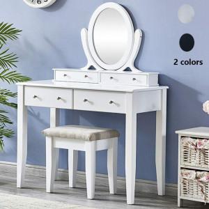 SEA247 - Set Masa alba toaleta cosmetica machiaj oglinda masuta vanity, scaunel, taburet tapitat