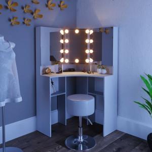 SEA270 - Set Masa toaleta cosmetica machiaj, cu oglinda make-up cu sau fara LED-uri, masuta vanity - Alba pe colt