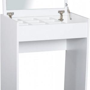 SEA292 - Set Masa toaleta, 60 cm, cosmetica machiaj, oglinda rabatabila , masuta vanity, comoda make-up, scaun tapitat - Alb