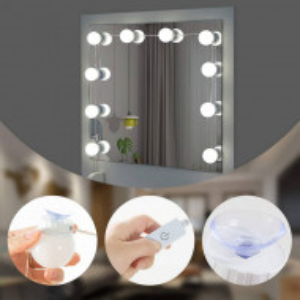 SEA351 - Set Masa toaleta, 90 cm, cosmetica machiaj oglinda masuta vanity, oglinda cu LED-uri - Alb
