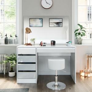 SEA352 - Set Masa toaleta, 120 cm, masuta vanity cu incarcare Qi, moderna cosmetica machiaj oglinda cu sau fara LED, cu sau fara scaun- Alb Lucios